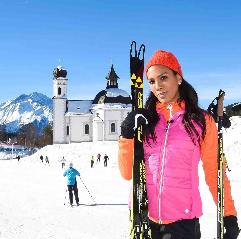 Barbara Becker in der Olympiaregion Seefeld in Tirol bei Ihrem ersten Ski - Langlaufkursam 27.01.2017
